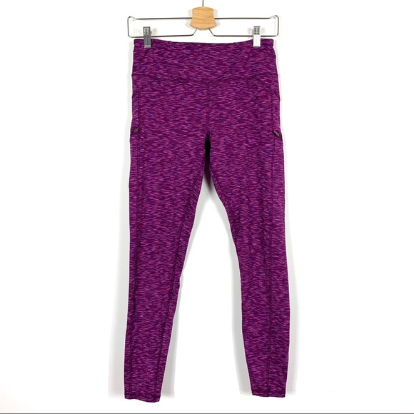 Z By Zobha Womens Eggplant Leggings With Pockets Purple Size Small